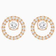 Load image into Gallery viewer, CREATIVITY CIRCLE PIERCED EARRINGS, WHITE, ROSE-GOLD TONE PLATED