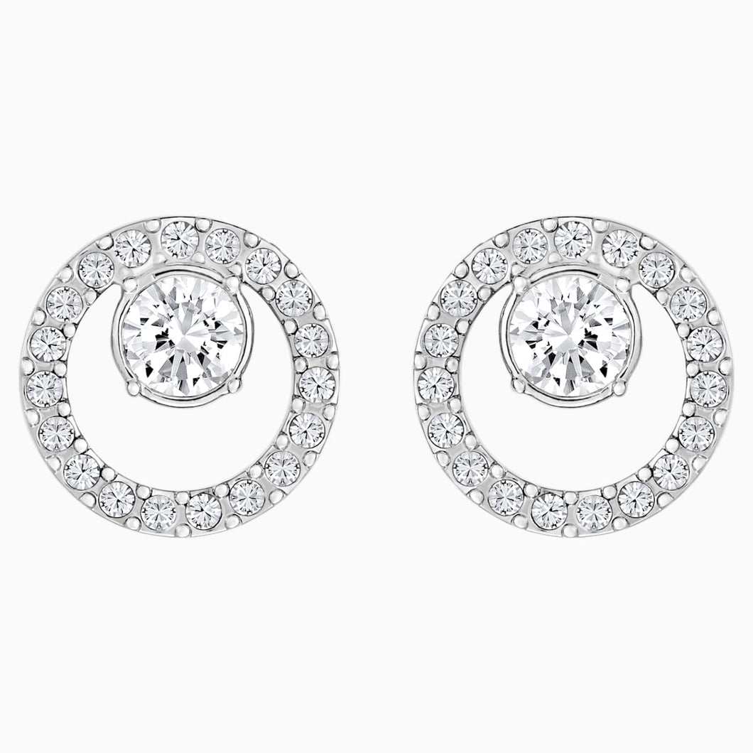 CREATIVITY CIRCLE PIERCED EARRINGS, WHITE, RHODIUM PLATED