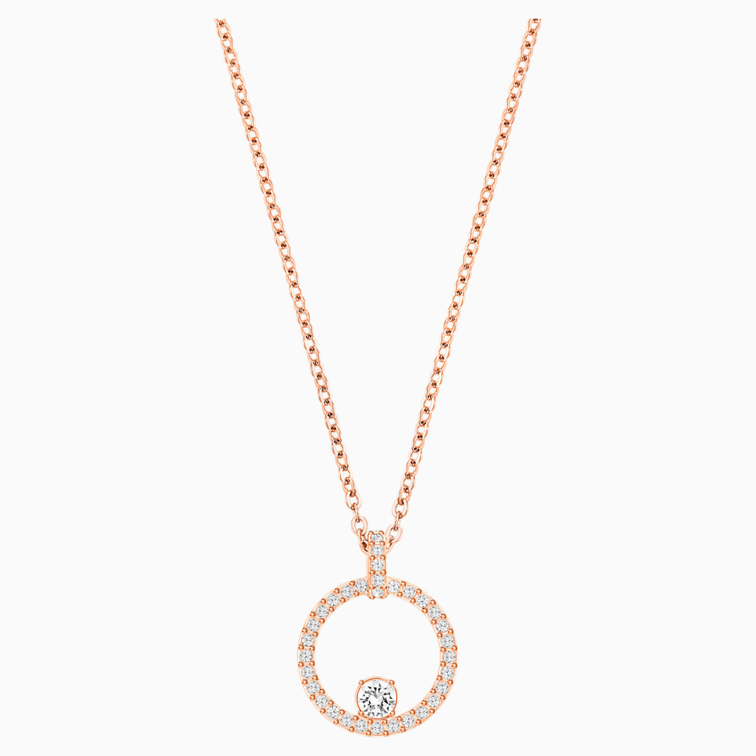 CREATIVITY CIRCLE PENDANT, WHITE, ROSE-GOLD TONE PLATED