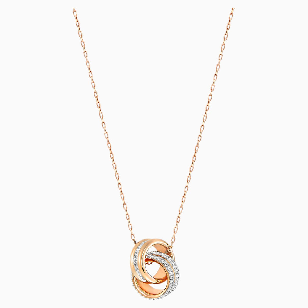 FURTHER PENDANT, WHITE, ROSE-GOLD TONE PLATED
