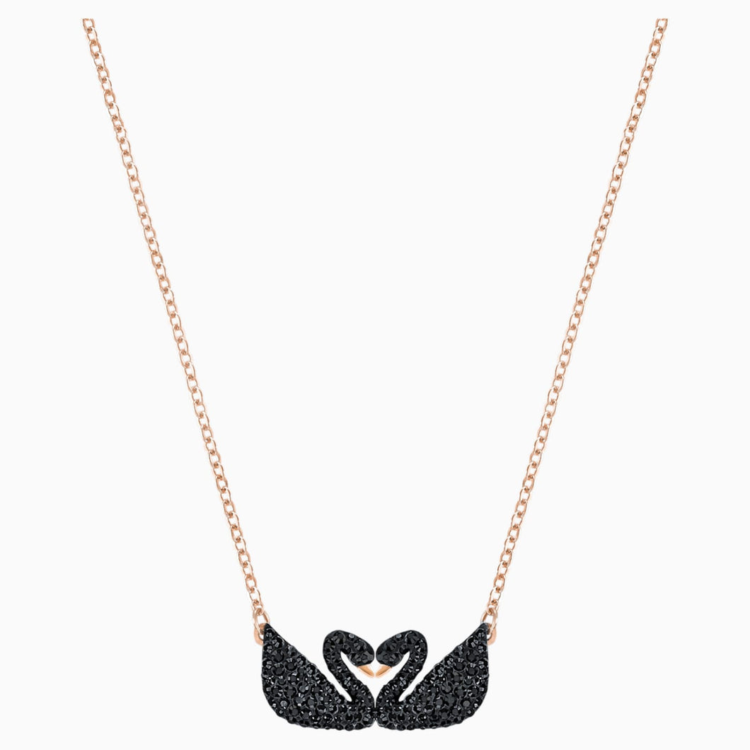 SWAROVSKI ICONIC SWAN NECKLACE, BLACK, ROSE-GOLD TONE PLATED