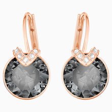 Load image into Gallery viewer, BELLA V PIERCED EARRINGS, GRAY, ROSE-GOLD TONE PLATED