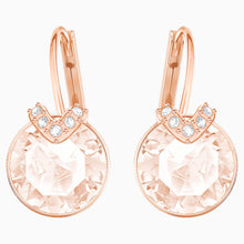 Load image into Gallery viewer, BELLA V PIERCED EARRINGS, PINK, ROSE-GOLD TONE PLATED