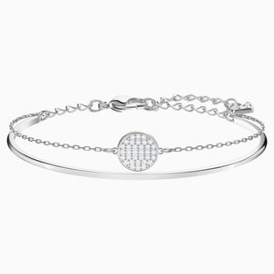 GINGER BANGLE, WHITE, RHODIUM PLATED