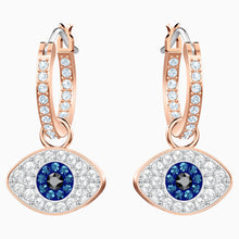 Load image into Gallery viewer, SWAROVSKI SYMBOLIC EVIL EYE HOOP PIERCED EARRINGS, MULTI-COLORED, ROSE-GOLD TONE PLATED