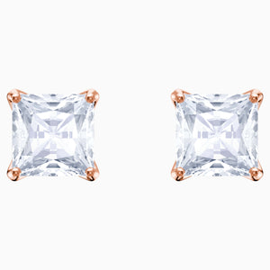 ATTRACT STUD PIERCED EARRINGS, WHITE, ROSE-GOLD TONE PLATED
