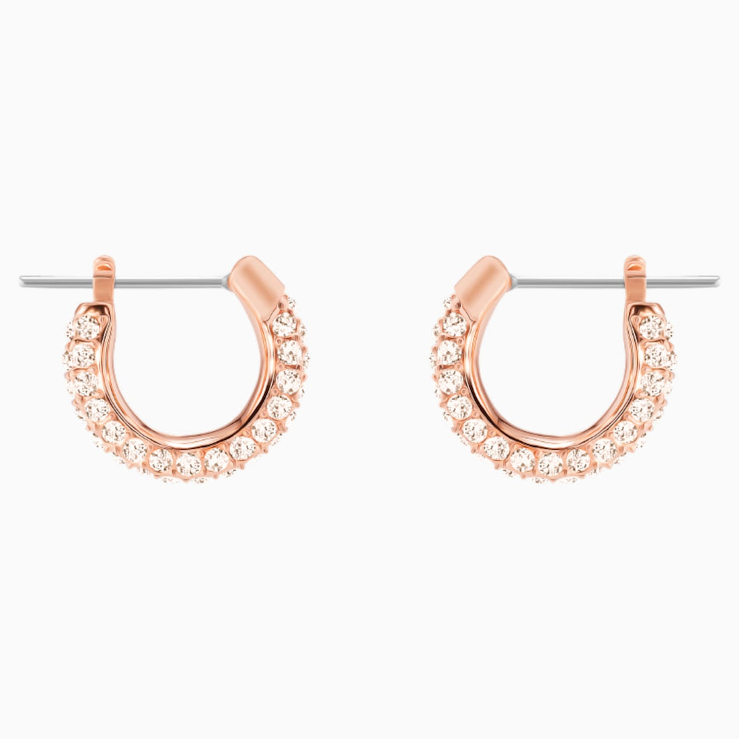 STONE PIERCED EARRINGS, PINK, ROSE-GOLD TONE PLATED