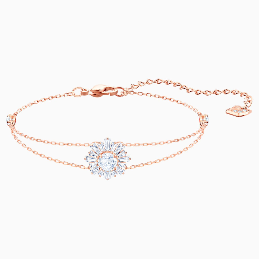 SUNSHINE BRACELET, WHITE, ROSE-GOLD TONE PLATED