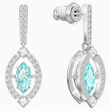 Load image into Gallery viewer, SWAROVSKI SPARKLING DANCE PIERCED EARRINGS, GREEN, RHODIUM PLATED