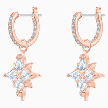 Load image into Gallery viewer, SWAROVSKI SYMBOLIC STAR HOOP PIERCED EARRINGS, WHITE, ROSE-GOLD TONE PLATED