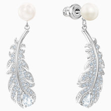 Load image into Gallery viewer, NICE PIERCED EARRINGS, WHITE, RHODIUM PLATED