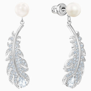 NICE PIERCED EARRINGS, WHITE, RHODIUM PLATED