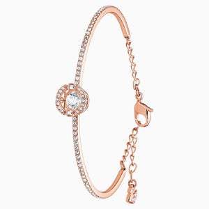 SWAROVSKI SPARKLING DANCE BANGLE, WHITE, ROSE-GOLD TONE PLATED