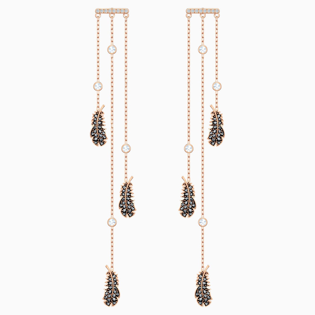 NAUGHTY CHANDELIER PIERCED EARRINGS, BLACK, ROSE-GOLD TONE PLATED