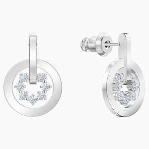 FURTHER DROP PIERCED EARRINGS, WHITE, RHODIUM PLATED