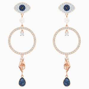 Swarovski Symbolic Hoop Pierced Earrings, Multi-colored, Rose-gold tone plated