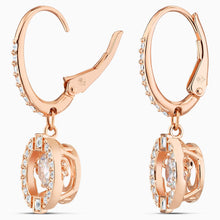 Load image into Gallery viewer, SWAROVSKI SPARKLING DANCE PIERCED EARRINGS, WHITE, ROSE-GOLD TONE PLATED