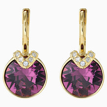 Load image into Gallery viewer, BELLA V PIERCED EARRINGS, PURPLE, GOLD-TONE PLATED