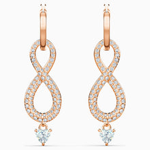 Load image into Gallery viewer, SWAROVSKI INFINITY PIERCED EARRINGS, WHITE, ROSE-GOLD TONE PLATED