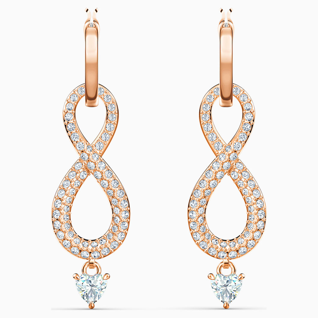 SWAROVSKI INFINITY PIERCED EARRINGS, WHITE, ROSE-GOLD TONE PLATED