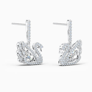 DANCING SWAN PIERCED EARRINGS, WHITE, RHODIUM PLATED