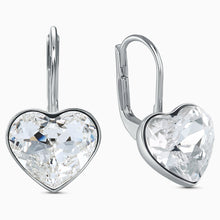 Load image into Gallery viewer, BELLA HEART PIERCED EARRINGS, WHITE, RHODIUM PLATED