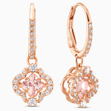 Load image into Gallery viewer, SWAROVSKI SPARKLING DANCE CLOVER PIERCED EARRINGS, PINK, ROSE-GOLD TONE PLATED