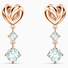 Load image into Gallery viewer, LIFELONG HEART PIERCED EARRINGS, WHITE, ROSE-GOLD TONE PLATED