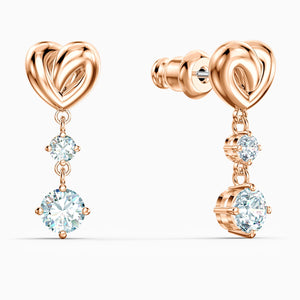 LIFELONG HEART PIERCED EARRINGS, WHITE, ROSE-GOLD TONE PLATED