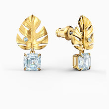 Load image into Gallery viewer, TROPICAL LEAF PIERCED EARRINGS, WHITE, GOLD-TONE PLATED