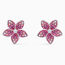 Load image into Gallery viewer, TROPICAL FLOWER PIERCED EARRINGS, PINK, RHODIUM PLATED