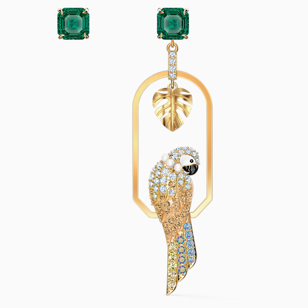 TROPICAL PARROT PIERCED EARRINGS, LIGHT MULTI-COLORED, GOLD-TONE PLATED
