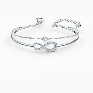 SWAROVSKI INFINITY BANGLE, WHITE, RHODIUM PLATED