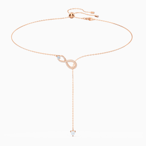 SWAROVSKI INFINITY Y NECKLACE, WHITE, ROSE-GOLD TONE PLATED