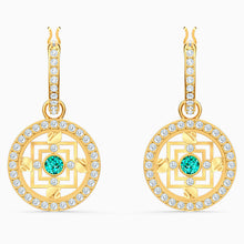 Load image into Gallery viewer, SWAROVSKI SYMBOLIC MANDALA HOOP PIERCED EARRINGS, GREEN, GOLD-TONE PLATED