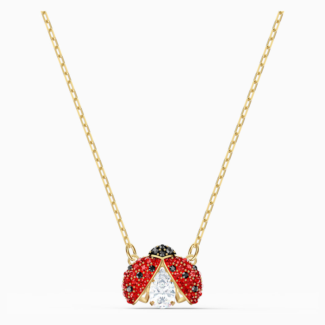 SWAROVSKI SPARKLING DANCE LADYBUG NECKLACE, RED, GOLD-TONE PLATED