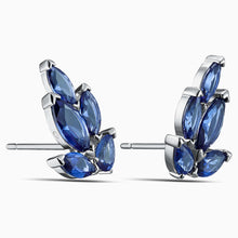 Load image into Gallery viewer, LOUISON STUD PIERCED EARRINGS, BLUE, RHODIUM PLATED