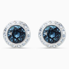 Load image into Gallery viewer, ANGELIC STUD PIERCED EARRINGS, BLUE, RHODIUM PLATED