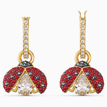 Load image into Gallery viewer, SWAROVSKI SPARKLING DANCE LADYBUG PIERCED EARRINGS, RED, GOLD-TONE PLATED