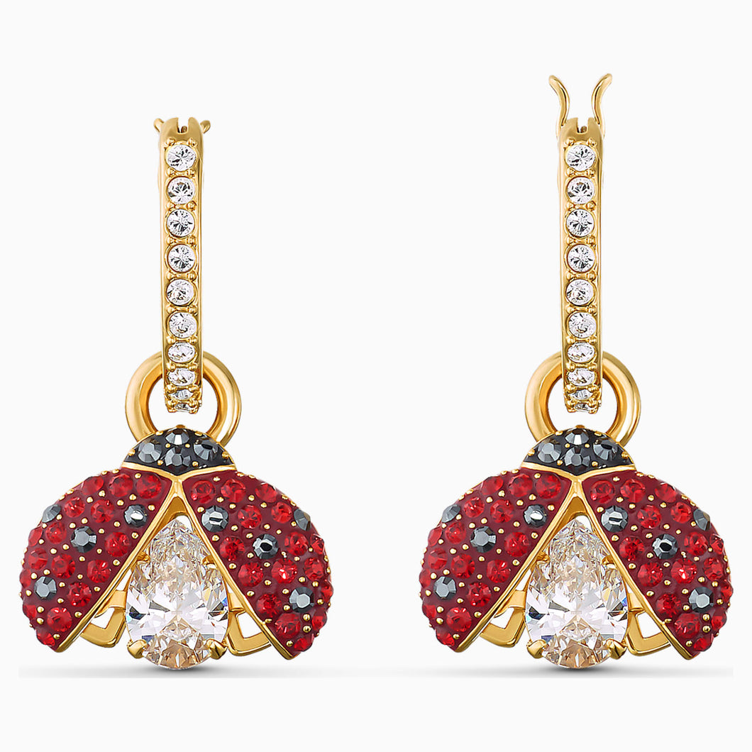 SWAROVSKI SPARKLING DANCE LADYBUG PIERCED EARRINGS, RED, GOLD-TONE PLATED