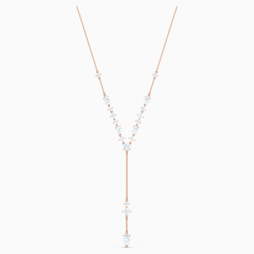 ATTRACT Y NECKLACE, WHITE, ROSE-GOLD TONE PLATED
