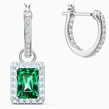 Load image into Gallery viewer, ANGELIC RECTANGULAR PIERCED EARRINGS, GREEN, RHODIUM PLATED