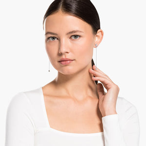 MAGIC CHAIN PIERCED EARRINGS, WHITE, RHODIUM PLATED