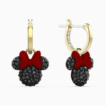 Load image into Gallery viewer, MINNIE HOOP PIERCED EARRINGS, BLACK, GOLD-TONE PLATED