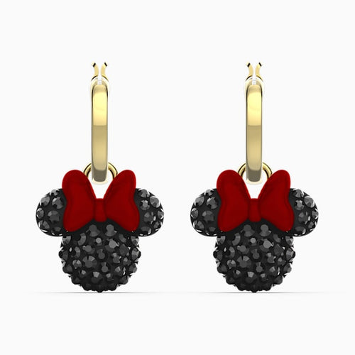 MINNIE HOOP PIERCED EARRINGS, BLACK, GOLD-TONE PLATED