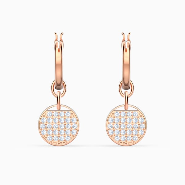 GINGER MINI HOOP PIERCED EARRINGS, WHITE, ROSE-GOLD TONE PLATED