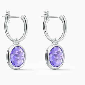 TAHLIA MINI HOOP PIERCED EARRINGS, PURPLE, RHODIUM PLATED