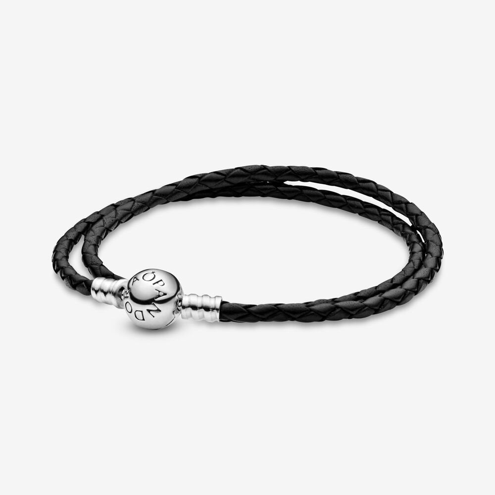 Pandora Moments Double Black Leather Bracelet