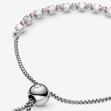 Load image into Gallery viewer, Pink & Clear Sparkle Slider Bracelet
