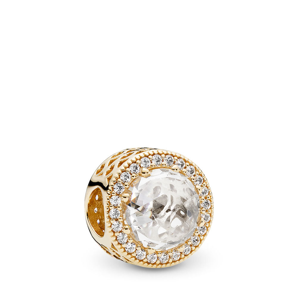Pandora Radiant Hearts Charm, 14K Gold & Clear CZ